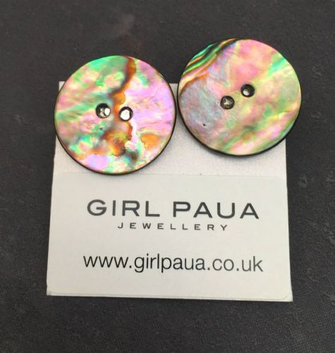Paua Clip On Stud Earrings - Large Button Natural PE07-LBN